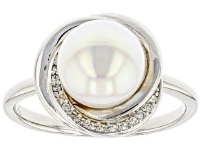 White Cultured Japanese Akoya & White Zircon Rhodium Over Sterling Silver Ring