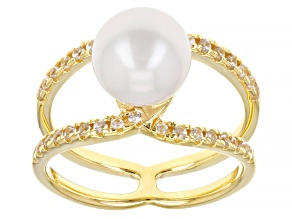 White Cultured Japanese Akoya & White Zircon  18k Yellow Gold Over Sterling Silver Ring