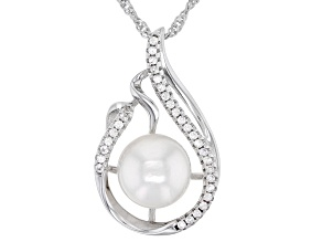 White Cultured Japanese Akoya Pearl & White Zircon Rhodium Over Sterling Silver Pendant With Chain