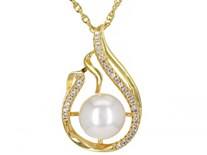 White Cultured Japanese Akoya Pearl & Zircon 18k Yellow Gold Over Sterling Silver Pendant With Chain