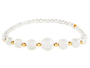 White Cultured Freshwater Pearl 14k Yellow Gold Bracelet
