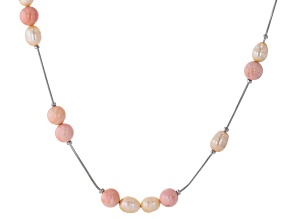 Pink Cultured Freshwater Pearl & Pink Conch Shell Rhodium Over Sterling Silver 18 Inch Necklace