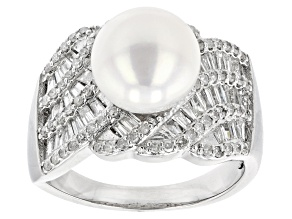 White Cultured Freshwater Pearl & Diamond Rhodium Over Sterling Silver Ring 1.08ctw