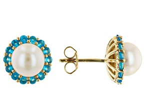 White Cultured Freshwater Pearl & Neon Apatite 18k Yellow Gold Over Sterling Silver Earrings