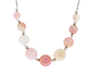 Pink Conch Shell Rhodium Over Sterling Silver 18 Inch Necklace