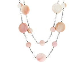 Pink Conch Shell Rhodium Over Sterling Silver Multi-Strand 18 Inch Necklace