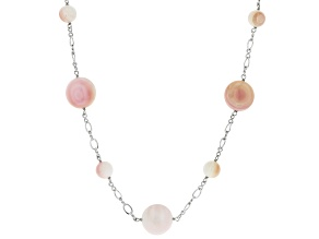Pink Conch Shell Rhodium Over Sterling Silver 36 Inch Necklace