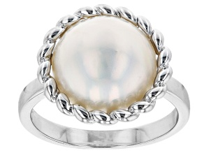 White Cultured South Sea Mabe Pearl Rhodium Over Sterling Silver Ring