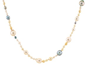 Multi-Color Cultured Akoya Pearl Rhodium Over Sterling Silver 25 Inch Necklace