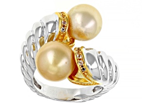 Golden Cultured South Sea Pearl & White Topaz Rhodium & 14k Yellow Gold Over Sterling Silver Ring