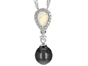 Cultured Tahitian Pearl, Ethiopian Opal & White Zircon Rhodium Over Silver Pendant With Chain