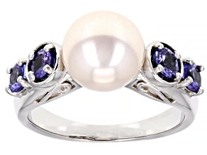 White Cultured Freshwater Pearl & Tanzanite Rhodium Over Sterling Silver Ring