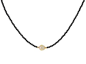 Golden Cultured South Sea Pearl & Black Spinel 18k Yellow Gold Over Sterling Silver 18 Inch Necklace