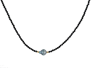 Cultured Tahitian Pearl & Black Spinel 18k Yellow Gold Over Sterling Silver 18 Inch Necklace