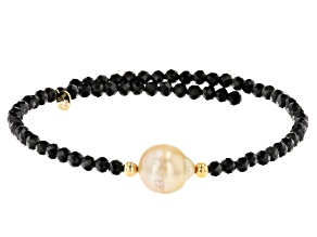 Golden Cultured South Sea Pearl & Black Spinel 18k Yellow Gold Over Sterling Silver Wrap Bracelet