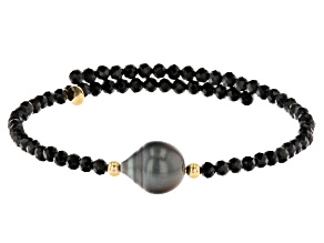 Cultured Tahitian Pearl & Black Spinel 18k Yellow Gold Over Sterling Silver Wrap Bracelet