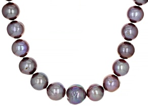 Deep Purple Cultured Freshwater Pearl Rhodium Over Sterling Silver 20 Inch Strand Necklace