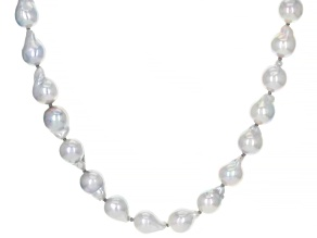 Multi-Color Japanese Akoya Pearl Rhodium Over Sterling Silver 36 Inch Graduated Necklace