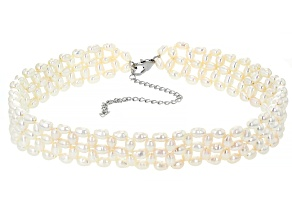 White Cultured Freshwater Pearl Rhodium Over Sterling Silver 14 Inch Necklace
