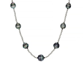 Cultured Tahitian Pearl Rhodium Over Sterling Silver 18 Inch Necklace