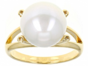 White Cultured Freshwater Pearl & White Topaz 18k Yellow Gold Over Sterling Silver Ring