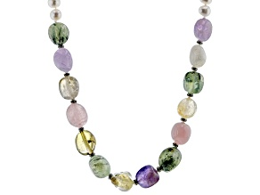 White Cultured Freshwater Pearl Multi-Gem  & Rhinestone Rhodium Over Silver 20 Inch Necklace