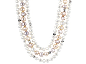 Multi-Color Cultured Freshwater Pearl Rhodium Over Sterling Silver Multi-Strand 18 Inch Necklace