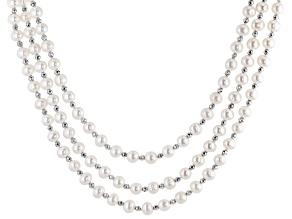 White Cultured Freshwater Pearl & Hematine Rhodium Over Silver Multi-Strand 20 Inch Necklace