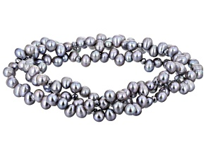Platinum Cultured Freshwater Pearl With Hematine Stretch Bracelet Set Of 3