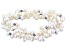 White Cultured Freshwater Pearl With Hematine Stretch Bracelet Set Of 3