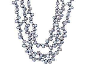 Platinum Cultured Freshwater Pearl & Hematine Rhodium Over Silver Multi-Strand 20 Inch Necklace