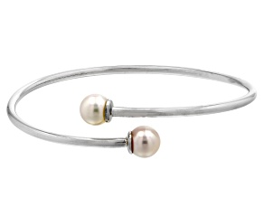White Cultured Japanese Akoya Pearl Rhodium Over Sterling Silver Bypass Flex Bangle