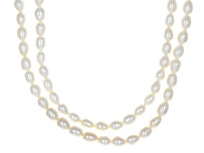 White Cultured Freshwater Pearl Rhodium Over Sterling Silver Multi-Row 18 Inch Necklace