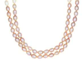 Pink And White Cultured Freshwater Pearl Rhodium Over Sterling Silver Multi-Row 18 Inch Necklace