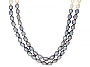 Platinum & White cultured Freshwater Pearl Rhodium Over Sterling Silver Multi-Row 18 Inch Necklace