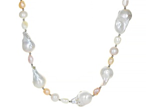 Multi-Color Cultured Freshwater Pearl Rhodium Over Sterling Silver 54 Inch Necklace