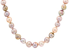 Multi-Color Cultured Freshwater Pearl Rhodium Over Sterling Silver 20 Inch Strand Necklace
