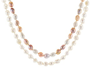 White & Multi-Color Cultured Freshwater Pearl Endless Strand Necklace Set Of 2