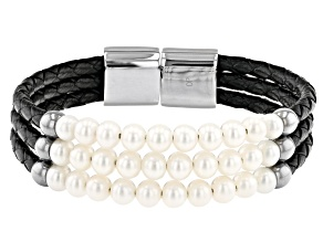 White Cultured Freshwater Pearl Stainless Steel With Black Imitation Leather Bracelet
