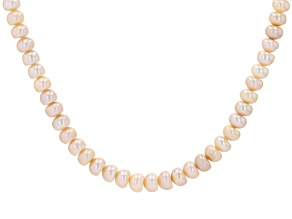 Pink Cultured Freshwater Pearl Rhodium Over Sterling Silver 18 Inch Strand Necklace