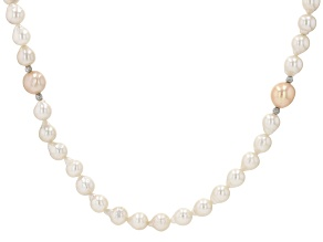 Peach & White Cultured Freshwater Pearl Rhodium Over Sterling Silver 32 Inch Necklace