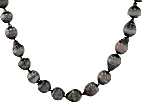 Cultured Tahitian Pearl Rhodium Over Sterling Silver 24 Inch Strand Necklace