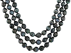 Cultured Tahitian Pearl Rhodium Over Sterling Silver Multi-Strand Necklace