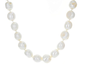 White Cultured Freshwater Pearl Rhodium Over Sterling Silver 20 Inch Necklace