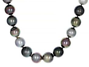 Multi-Color Cultured Tahitian Pearl Rhodium Over 14k White Gold 18 Inch Strand Necklace