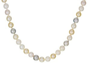 Multi-Color Cultured Japanese Akoya Pearl Rhodium Over Sterling Silver 20 Inch Strand Necklace