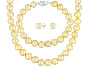 Womens 8mm Round Golden Freshwater Pearl Sterling Silver Jewelry Set