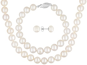 Womens 8mm Round White Freshwater Pearl Sterling Silver Jewelry Set