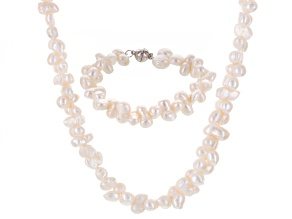 White Cultured Freshwater Pearl Silver Necklace And Bracelet Set