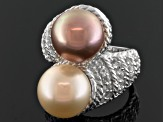 Pink And Champagne Cultured Freshwater Pearl, White Topaz Silver Ring